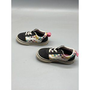 Vans tennis shoes toddler size 7  black with green